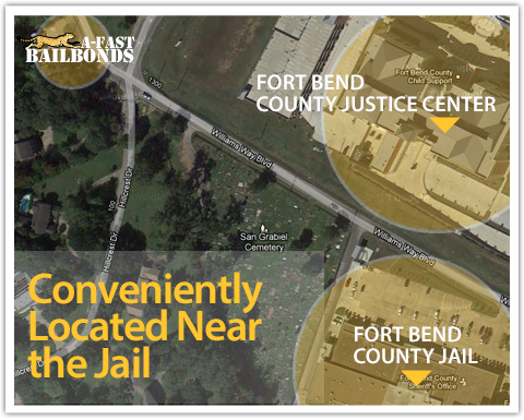 Fort Bend County Bail Bonds office map showing A Fast Bail Bonds located near the Jail